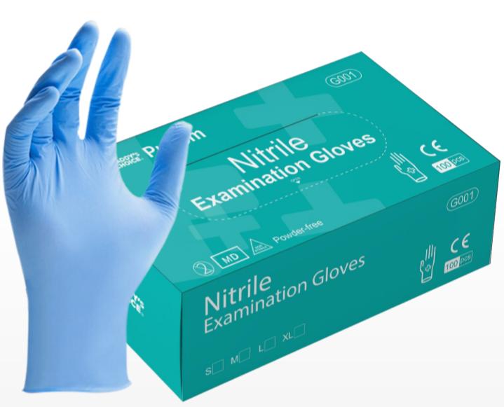 Disposable medical nitrile inspection gloves