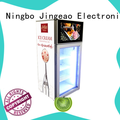 Jingeao reliable lcd screen fridge containerization for hotel