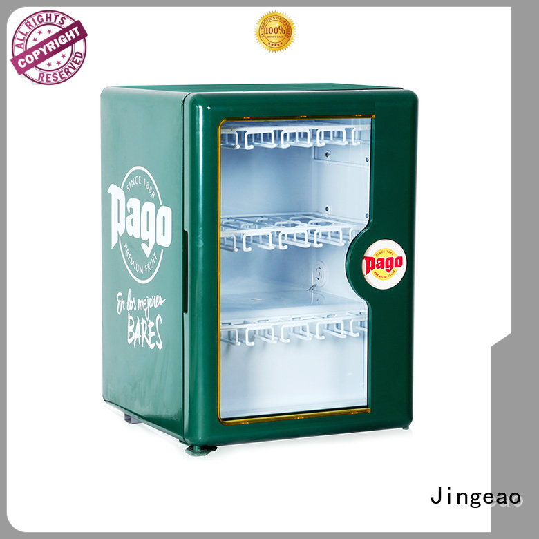 Jingeao superb glass front fridge application for company